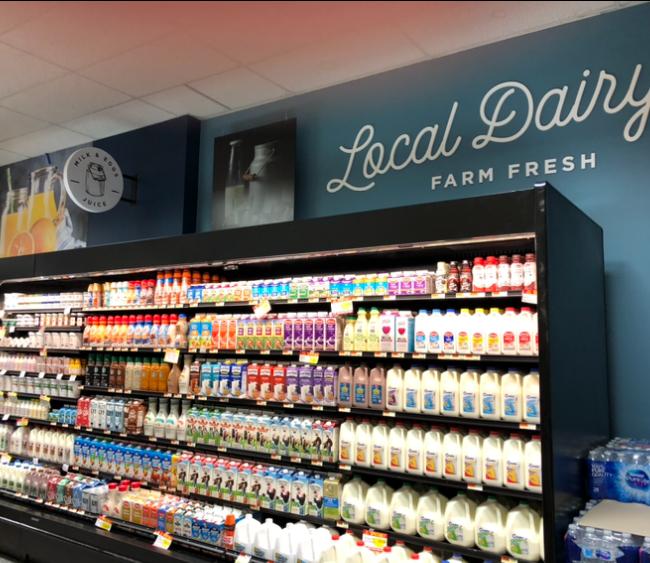 Our dairy department has lots of local farm milk, yogurt etc.